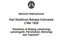 Seminar Internasional Hari Kelahiran Bahasa Indonesia 2 Mei 1926