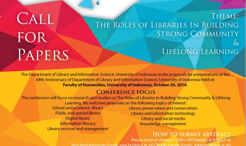 Call for Papers! 64th Anniversary of Department of Library and Information Science