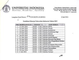 Jadwal Sosialisasi Kinerja Universitas Indonesia 2015