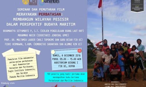 """Seminar """"Merayakan Perbatasan: Membangun Wilayah Pesisir dalam Perspektif Budaya Maritim"""