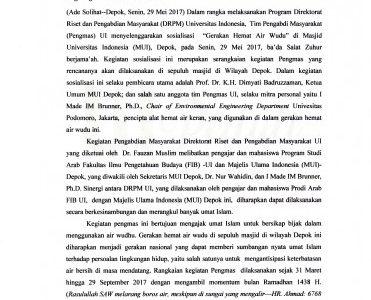 "UI Peduli ""Aksi Hemat Air Wudhu Di Masjid-Masjid Kota Depok"""