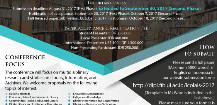 International Conference of Library, Archives, and Information Sciences (ICOLAIS) 2017