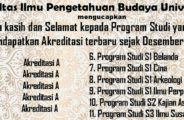 Nilai Akreditasi Program Studi di FIB UI.